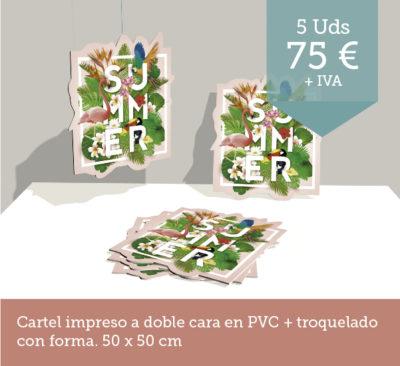 Promoción cartel impreso PVC Promoción cajas madera - Promoción tresatres